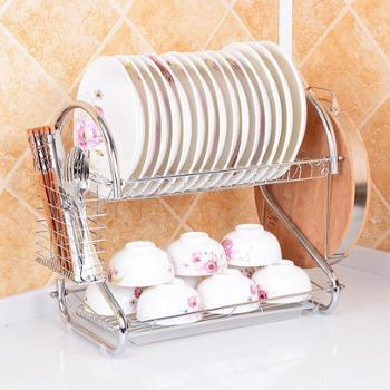 厨房置物架 双层沥水收纳碗架 滴水放碗盘子架