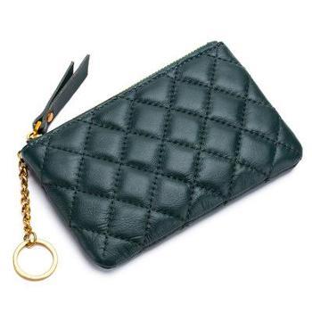 羊皮零钱包女士韩版迷你零钱袋菱格拉链手拿钥匙链女硬币包