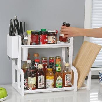厨房多功能双层收纳置物架调味架菜板架收纳架颜色随机(可备注)