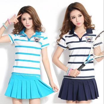 夏装女装横条短袖短裤裙T恤运动套装网球服卫衣时尚夏季套装