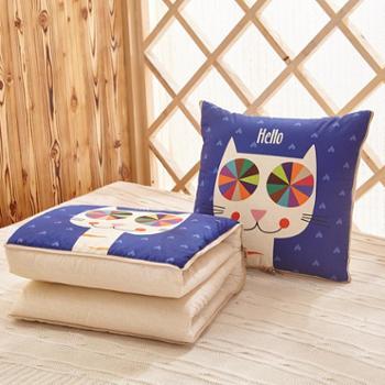可爱卡通抱枕亚麻风格抱枕被多功能汽车沙发两用