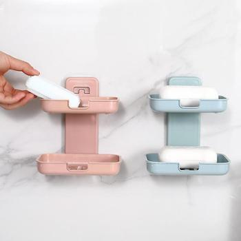 (生活用品)肥皂盒香皂盒皂双层吸盘壁挂式免打孔沥水皂盒(1个装)