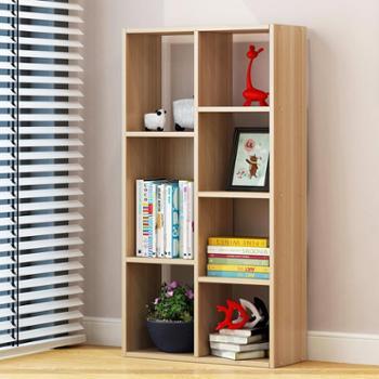 (生活用品)简易创意自由组合学生格子木质多层书房收纳置物带门书架小柜子