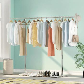 (生活家居晾晒用品)不锈钢简易晾衣架落地卧室折叠室内单杆式阳台家用挂衣服架子神器
