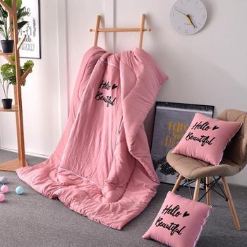 多功能水洗棉刺绣两用抱枕被子沙发靠垫夏季空调被(40*40cm展开105*150cm无绗缝)
