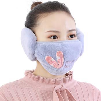 瑞雅新款女士口耳罩一体护耳冬季户外骑车加厚口罩保暖耳套二合一