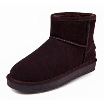 BEAFASUG雪地靴女男鞋情侣款短靴牛皮大码保暖加厚女鞋5854牛筋底
