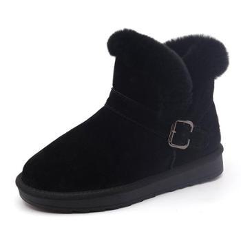 真皮雪地靴女短筒兔毛新款韩版学生百搭防水防滑加厚保暖棉鞋