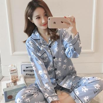 秋冬季新款全棉女士开衫长袖睡衣纯棉韩版女装可爱卡通套装家居服
