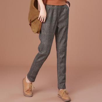 施悦名新款加绒裤保暖休闲裤女 大码格子加厚毛呢哈伦裤子
