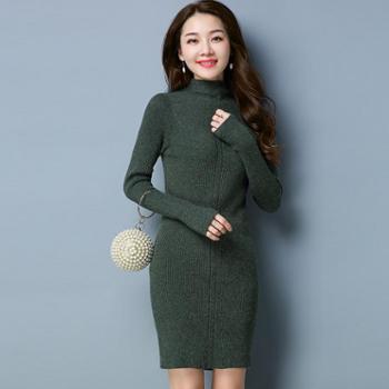 施悦名长款修身显瘦女式针织打底衫 秋冬新品针织毛衣裙 弹力打底