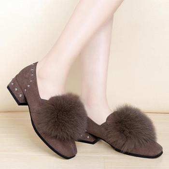 施悦名新款豆豆鞋女加绒毛毛鞋铆钉女鞋韩版女潮