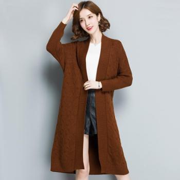 施悦名韩版纯色女式针织开衫外套拍腰带收腰显瘦女士毛衣外套