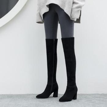 施悦名2018冬季磨砂皮高跟过膝长靴粗跟护膝盖长筒靴圆头显瘦百搭马丁靴子黑