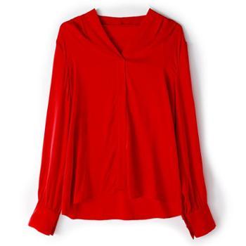 施悦名2019春季女装新款气质V领长袖纯色真丝衬衫显瘦桑蚕丝上衣