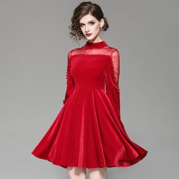 施悦名连衣裙秋装2019新款欧美时尚真丝欧根纱丝绒红色新年装