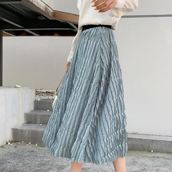 波浪纹半身裙2019春夏新款雪纺百褶裙长裙小清新