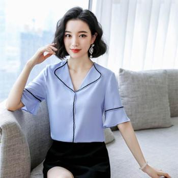 雪纺衫女韩版宽松洋气小衫翻领半袖上衣时尚衬衫