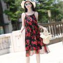 2019夏季新款女装 时尚印花桑蚕丝宽松显瘦大码真丝中长款连衣裙