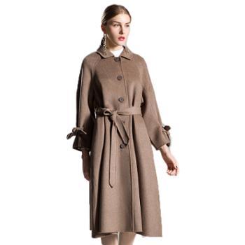 双面羊绒大衣女冬新款中长款羊毛外套有腰带双排扣毛呢大衣
