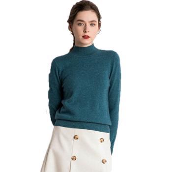 经典平面半高领基础款羊绒衫女式糖果色针织衫纯色韩版打底毛衣