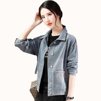 新款韩版休闲牛仔服长袖百搭宽松短外套上衣