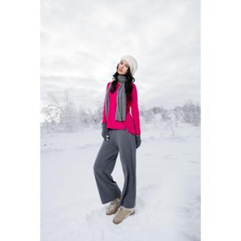 昭乌达专柜正品包邮2016早春新款纯羊绒女士俊朗灰针织长裤