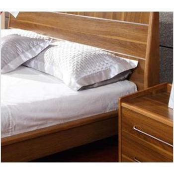 简约现代木质双人床1.8 米双人床 橡胶木框架