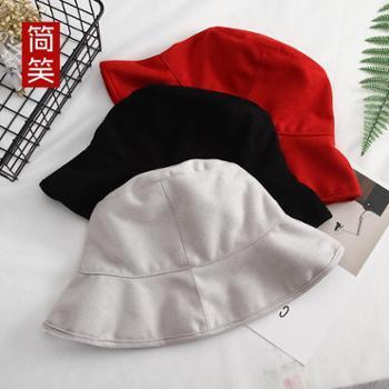 帽子女士韩版渔夫帽休闲麂皮绒百搭盆帽防晒潮太阳帽