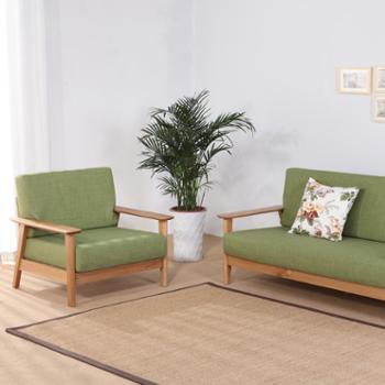 双李家具纯实木沙发美国进口白橡木单人位