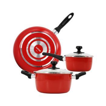 苏泊尔中国红不粘组合套装VTP1605T 28不粘煎锅+16铁搪瓷奶锅+20铁搪瓷汤锅