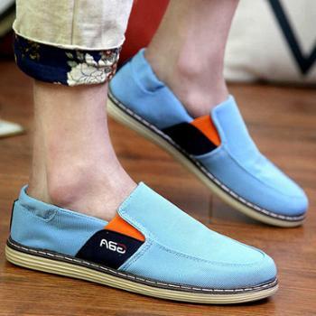 春夏季布鞋低帮帆布鞋男韩版一脚蹬懒人男鞋男士休闲鞋潮鞋板鞋子