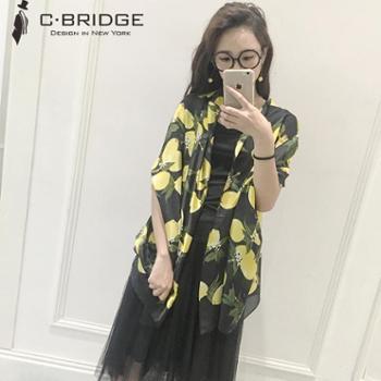 时尚柠檬花多功能围巾女披肩 春秋季多功能防晒空调两用大披肩