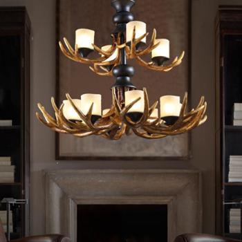 美式乡村吊灯复古树脂客厅灯大气创意个性酒吧吊灯餐厅灯艺术灯具