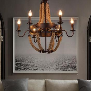 美式乡村麻绳吊灯客厅创意个性复古工业风吧台餐厅吊灯咖啡馆灯具