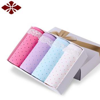 俞兆林4条礼盒装中腰棉女士内裤