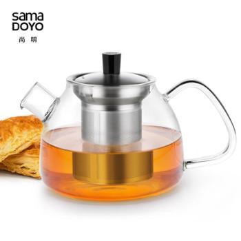 尚明加厚花草茶壶不锈钢内胆玻璃红茶茶具耐热玻璃泡茶壶大容量
