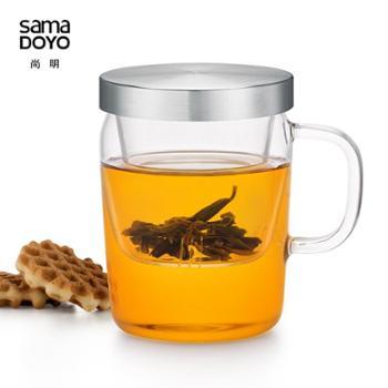 尚明男女士耐热玻璃茶杯三件杯茶水杯子泡茶杯功夫茶具茶水分离