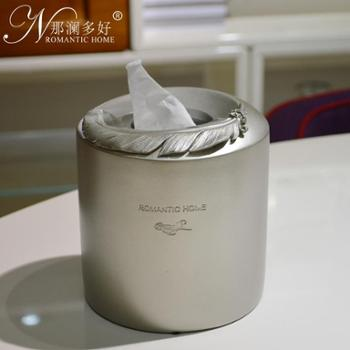 那澜多好 创意欧式时尚可爱简约羽毛树脂纸巾盒抽纸盒 纸巾筒