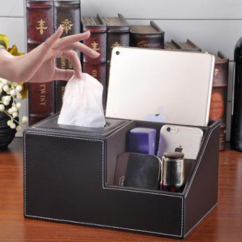泛雅 创意多功能纸巾盒卷纸筒抽纸筒盒 皮革桌面遥控器收纳盒客厅