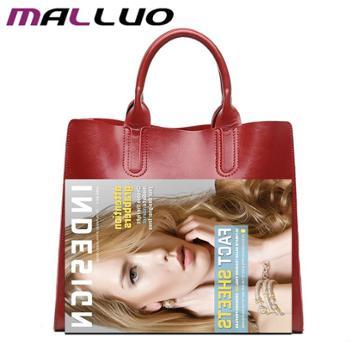 MALLUO/迈萝 新款油蜡牛皮大包手提包皮女包单肩手提斜挎包包