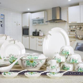 竹林间 56头骨瓷餐具套装绿霸王陶瓷器碗碟套碗