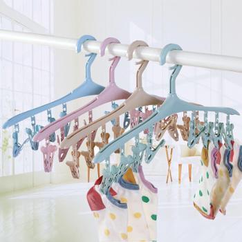 恒曼 8夹多功能塑料防风衣架 带夹子卡扣衣服挂 袜子内衣晾晒衣撑
