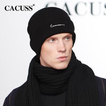 CACUSS新款纯棉毛线帽男冬双层加绒针织帽子男女绣字时尚护耳包头帽子冬帽男