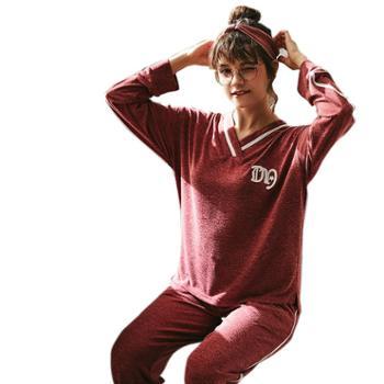 乌拉拉公主新款红色睡衣女长袖纯棉刺绣韩版甜美可爱薄款女家居服套装