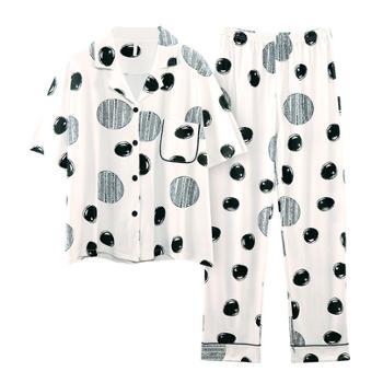 菲蜜莉睡衣女士纯棉短袖时尚波点家居服