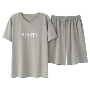 菲蜜莉纯棉短袖睡衣男五分短裤运动套装家居服