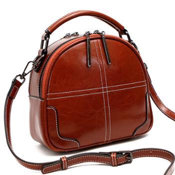 迈罗时尚手提包斜挎包牛皮单肩包复古女包小包
