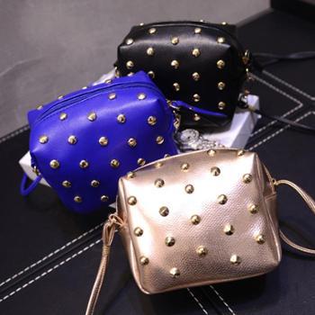 韩版新款春时尚迷你小包包单肩斜跨包小方包挎包潮女包铆钉包
