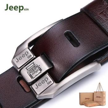 jeepxin皮带男士皮带真皮腰带男青年休闲针扣裤带纯牛皮